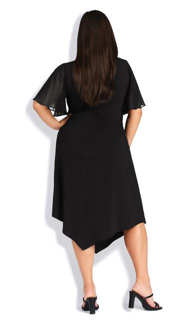Leona Flutter Sleeve Dress - black