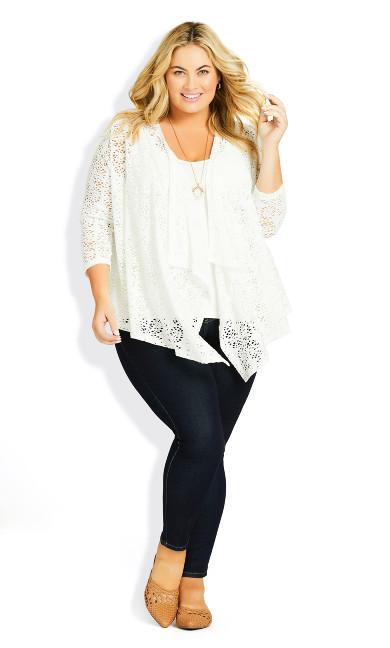 Plus Size Liz Lace Cardigan - white