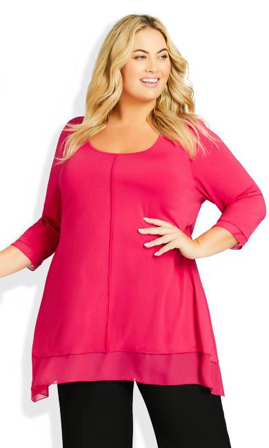 Plus Size Alma Chiffon Hem Tunic - pink