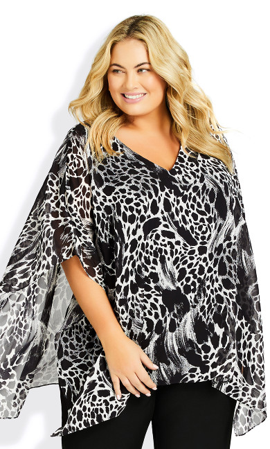 Plus Size Bella Overlay Top - animal