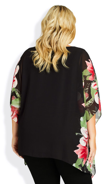 Bella Overlay Top - black floral