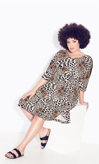 Plus Size Knit Pocket Dress - leopard