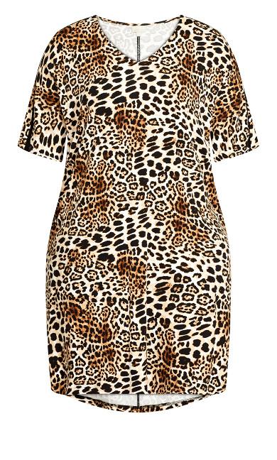 Knit Pocket Dress - leopard