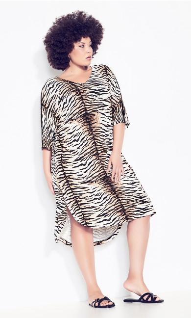 Plus Size Knit Pocket Dress - tiger