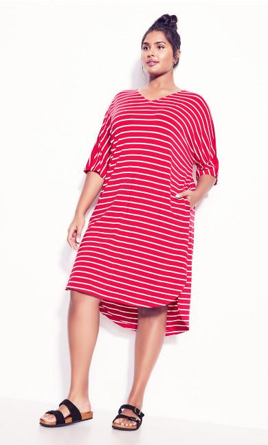 Knit Pocket Dress - watermelon stripe