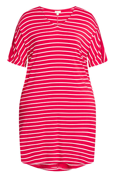 Knit Pocket Dress - watermelon stripe