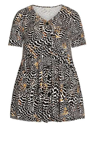 Zion Button Print Tunic - animal