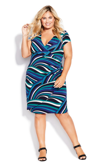 Plus Size Donna Print Dress - blue