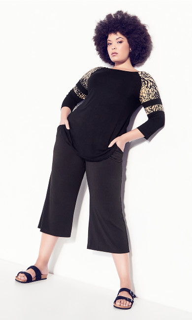 Plus Size Connie Contrast Top - animal mix