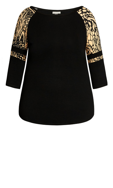 Connie Contrast Top - animal mix