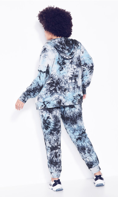 Zip Print Jacket - blue tie dye