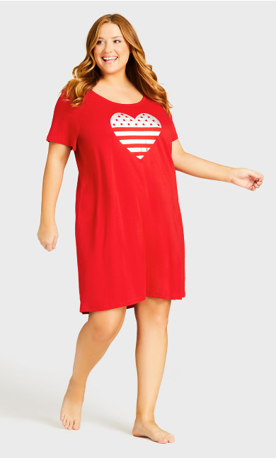 Print Sleep Shirt - red heart
