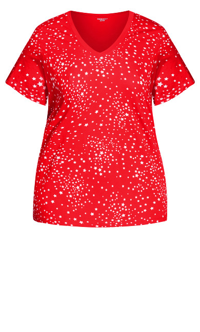 Print Sleep Top - red star