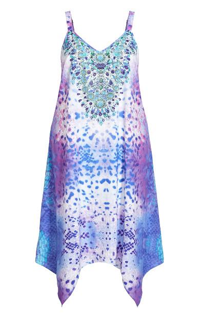 Elora Trapeze Maxi Dress - blue print