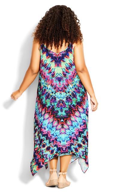 Elora Trapeze Maxi Dress - purple print