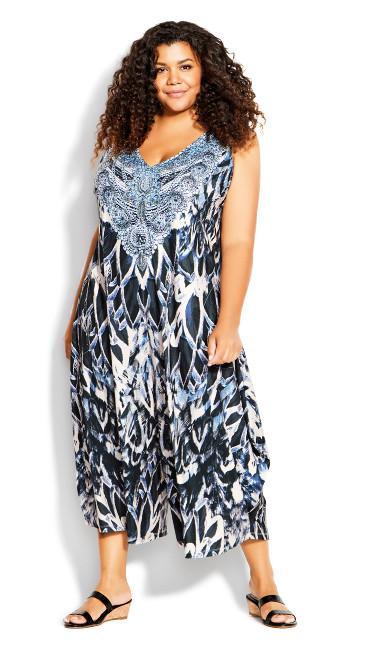 Plus Size Jayla Beaded Jumpsuit - navy