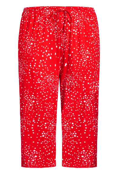 Beautiful Tie Waist Sleep Capri - red star