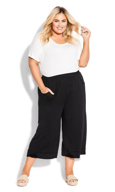 Plus Size Knit Culotte Pant - black