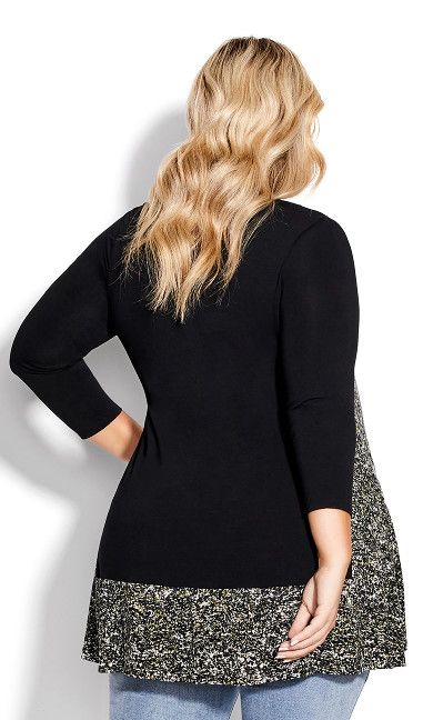 Elsa 3/4 Sleeve Print Tunic - black khaki