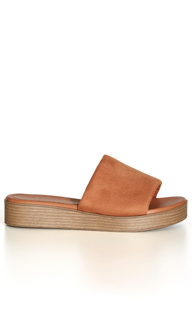 WIDE FIT Band Slide Wedge - tan
