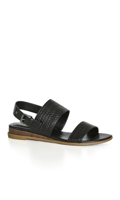 EXTRA WIDE FIT Weave Wedge - black