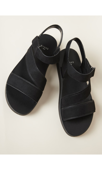 Cross Strap Sporty Sandal - black
