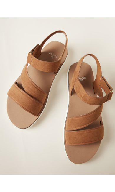 Cross Strap Sporty Sandal - tan