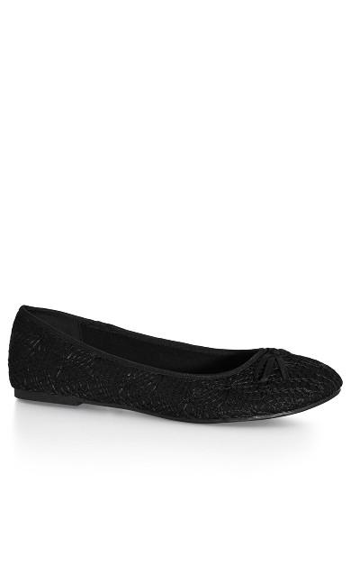 EXTRA WIDE FIT Crochet Ballet Flat - black