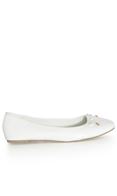 EXTRA WIDE FIT Weave Ballet Flat - white