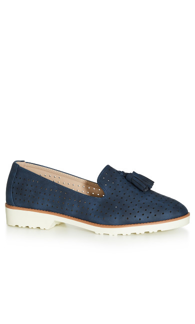 WIDE FIT: Perforated Loafer - navy