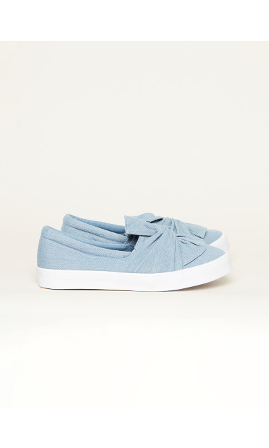 EXTRA WIDE FIT Denim Knot Canvas Flat - blue