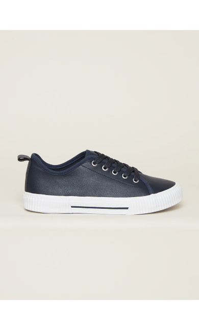 Lace Up Trainer - navy