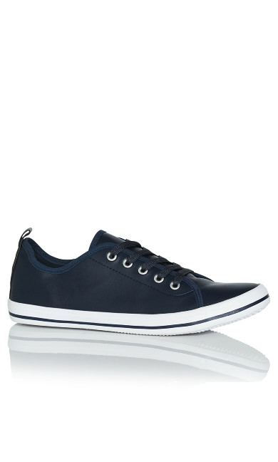 WIDE FIT Lace Up Trainer - navy