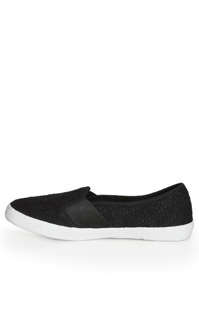 EXTRA WIDE FIT Crochet Slip On - black