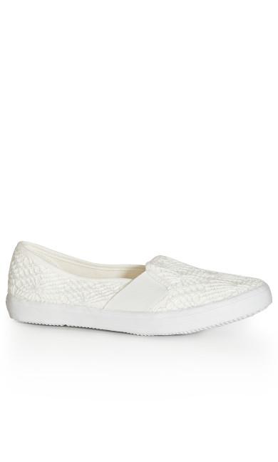 EXTRA WIDE FIT Crochet Slip On - white