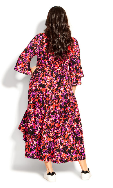 Valencia Dress - fuchsia floral
