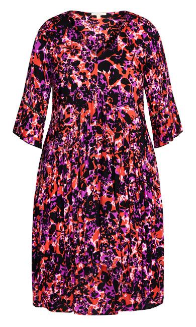 Valencia Mini Dress - fuchsia floral