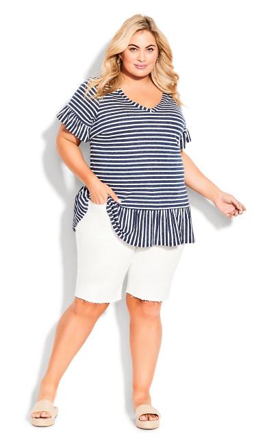 Plus Size Denim Fray Short - white
