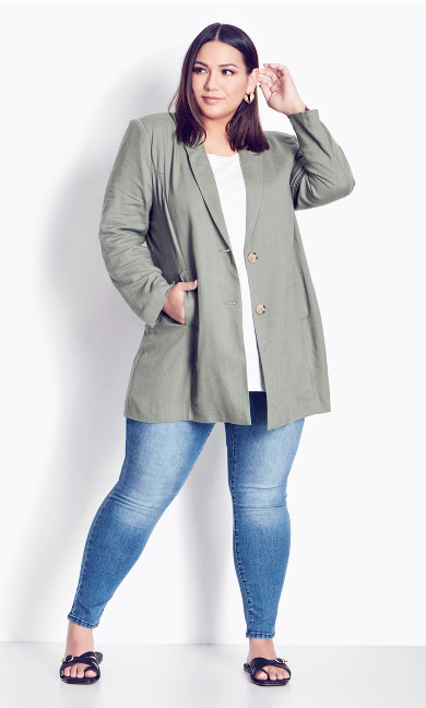 Plus Size Bestie Blazer Jacket khaki