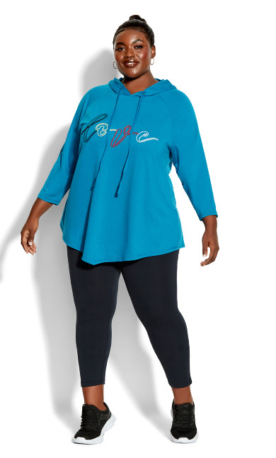 Plus Size Hooded Love Sweat Top teal
