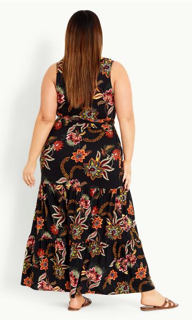 Floral Tiered Dress - black