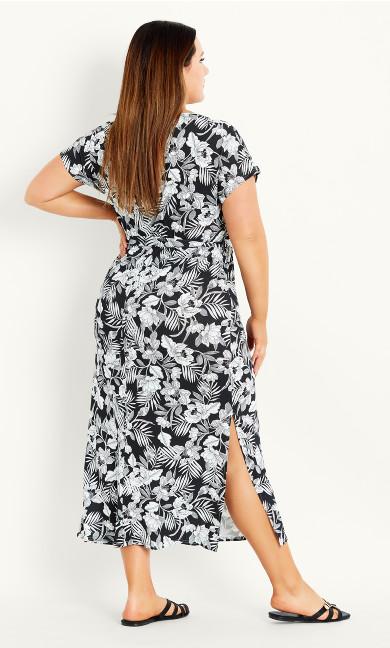 Tropical Print Dress - black