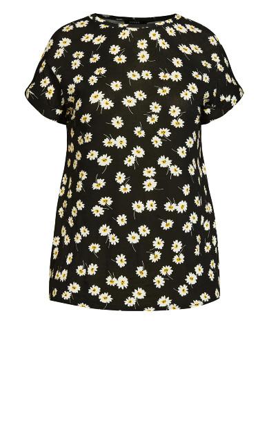 Daisy Tab Sleeve Top - black