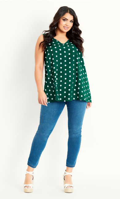 Spot Print Vest - green
