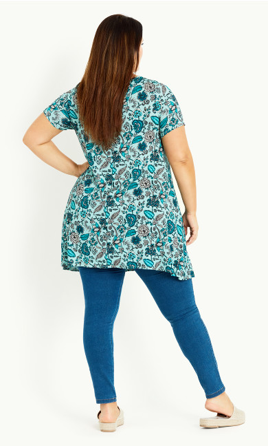 Paisley Floral Tunic - light teal