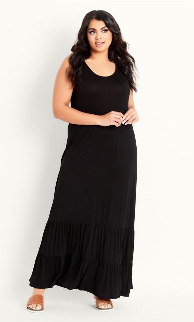 Frill Hem Dress - black
