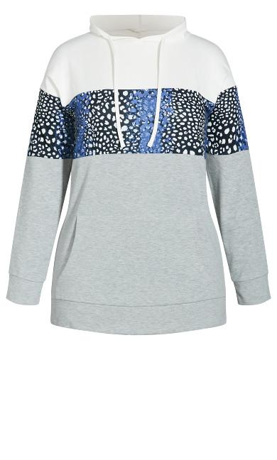 Colour Block Hoodie - grey