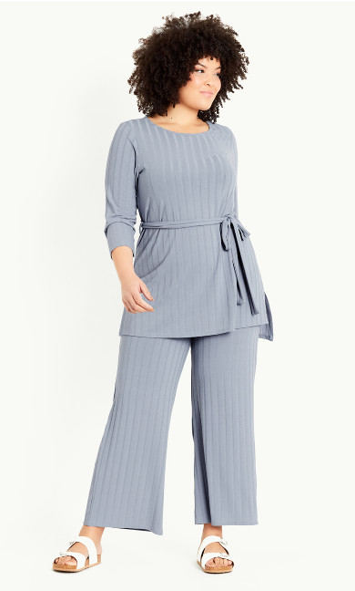 Ribbed Belted Tunic - blue