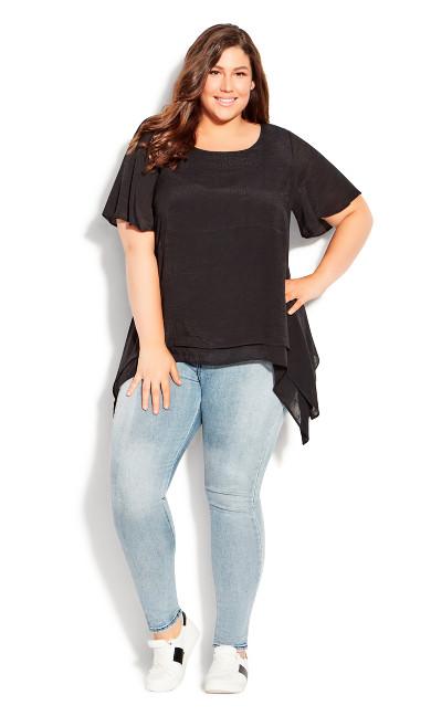 Plus Size Layer Flutter Plain Top - black
