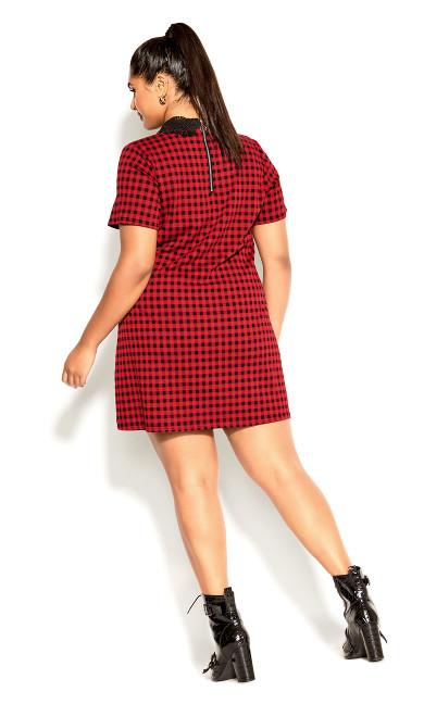 Check Collar Dress - red